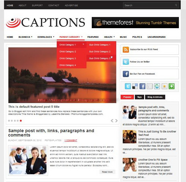 Captions Blogger Template