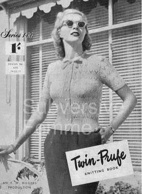Free 1950's Knitting pattern Spring Magic Twin-Prufe 144