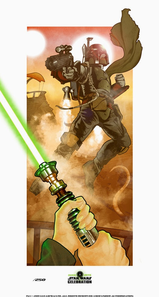 Dark Ink Art's Star Wars Celebration 2015 Exclusive Prints - Tatooine Showdown by Shea Standefer
