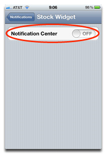 Disable Stock Widget In iOS 5 iPhone And iPad