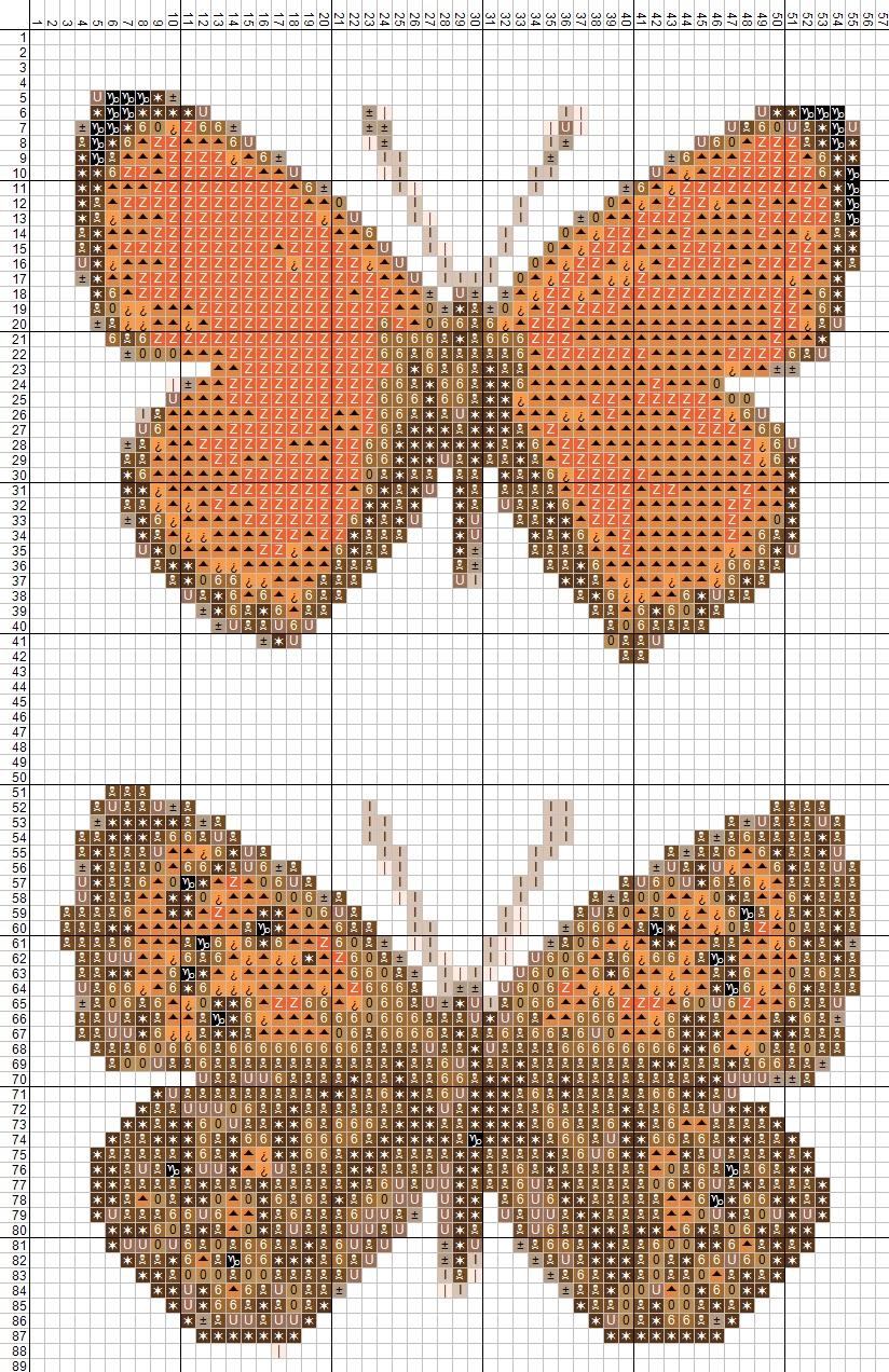 вышивание бабочек крестом схема