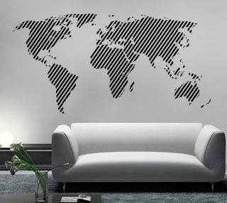 Adesivo de parede em forma de mapa mundi