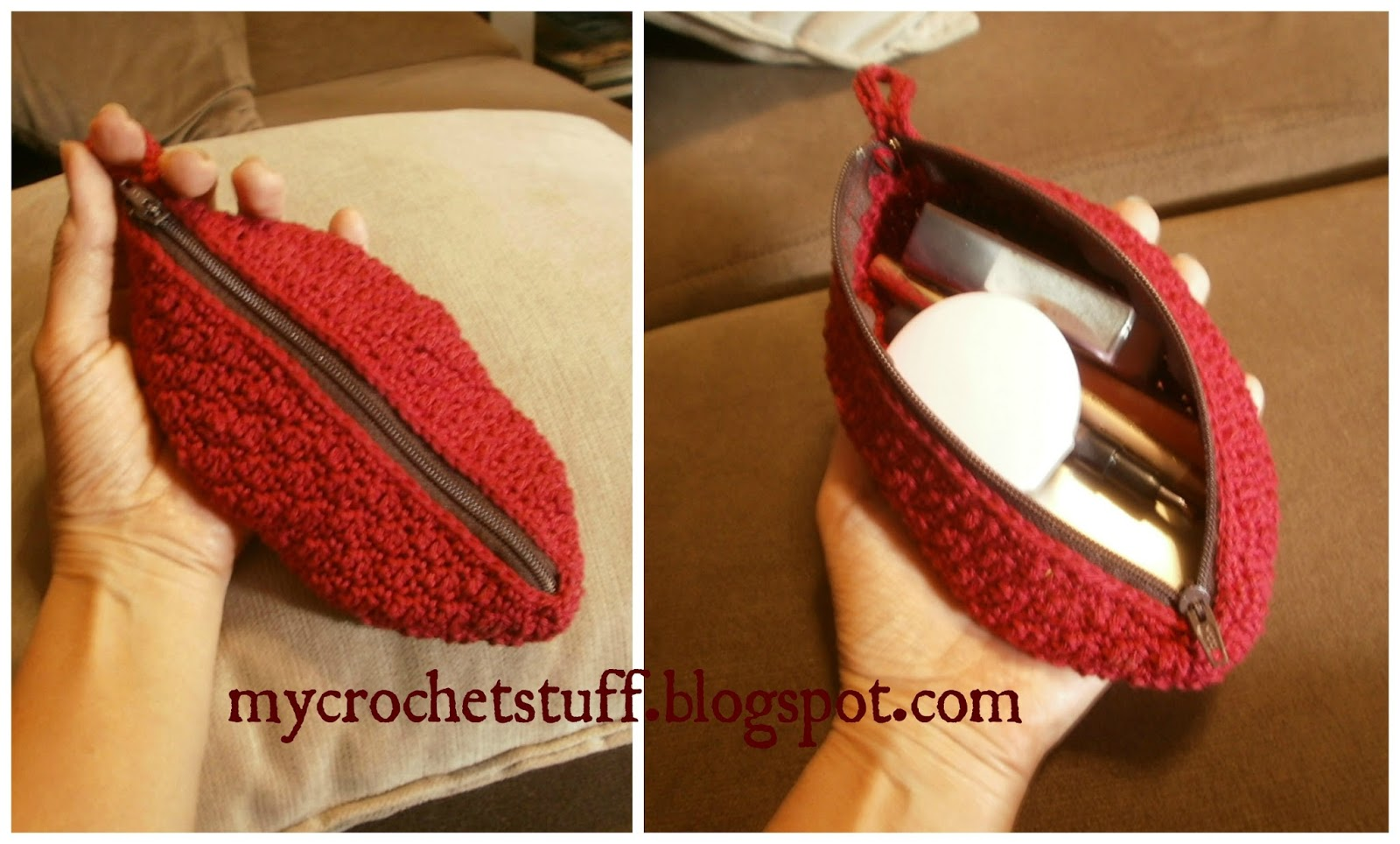 Free Crochet Patterns For Makeup Bags : Crochet and Other Stuff: Handy Oval Makeup Purse - free ...