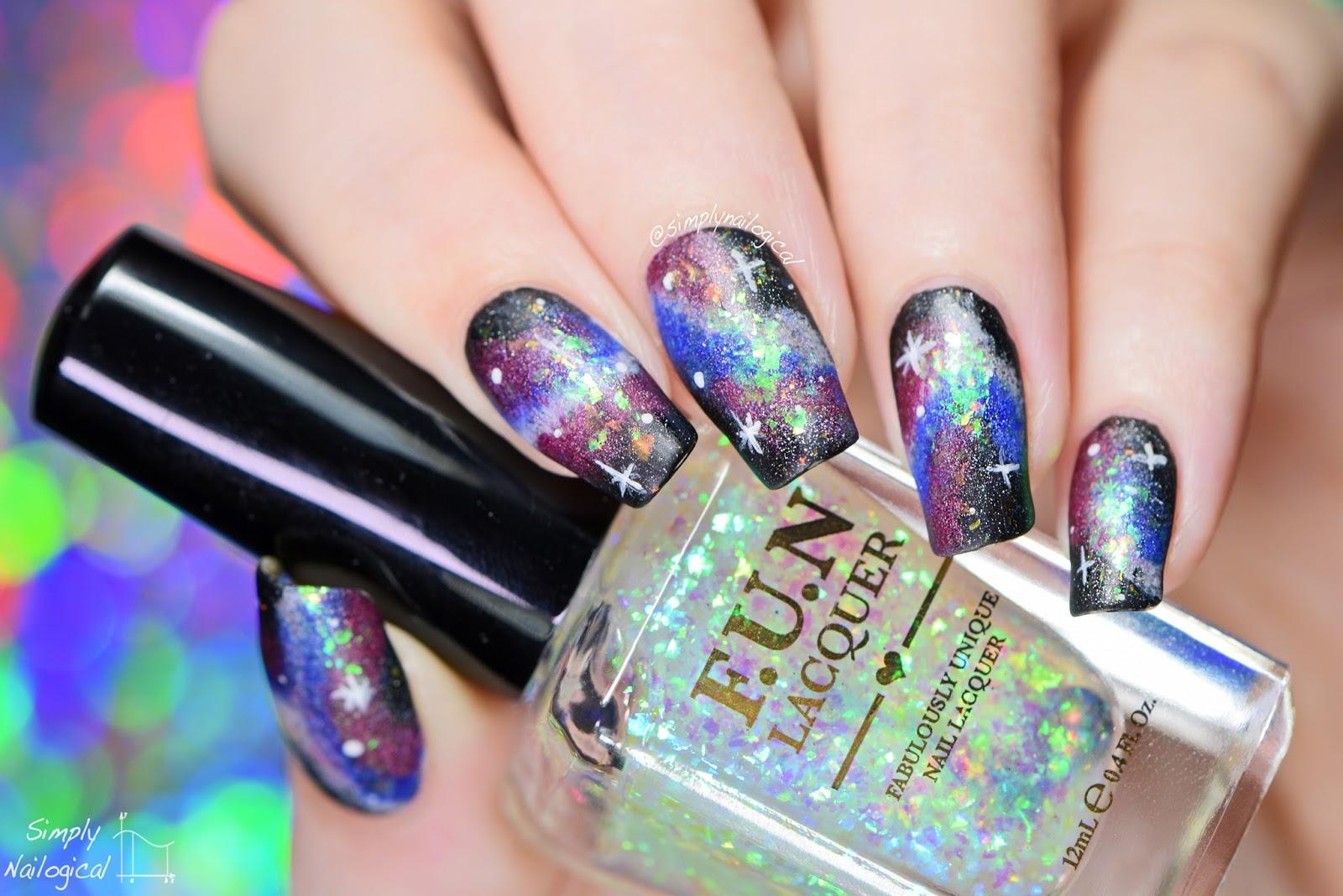 Simply Nailogical: Galaxy nail art with holo and flakies