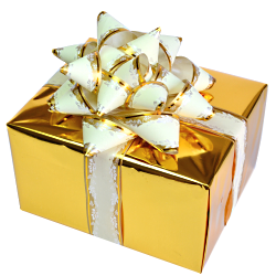 Golden gift box with transparent background