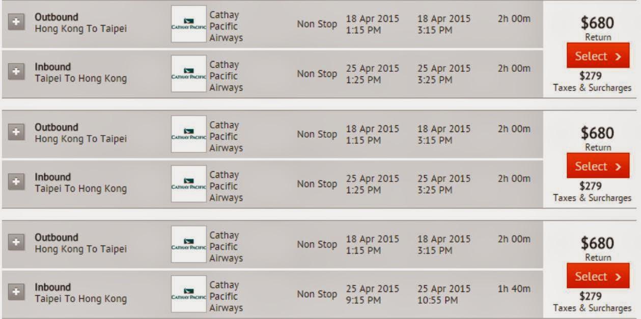 國泰Cathay Pacific香港往來台北$680起(連稅$959)