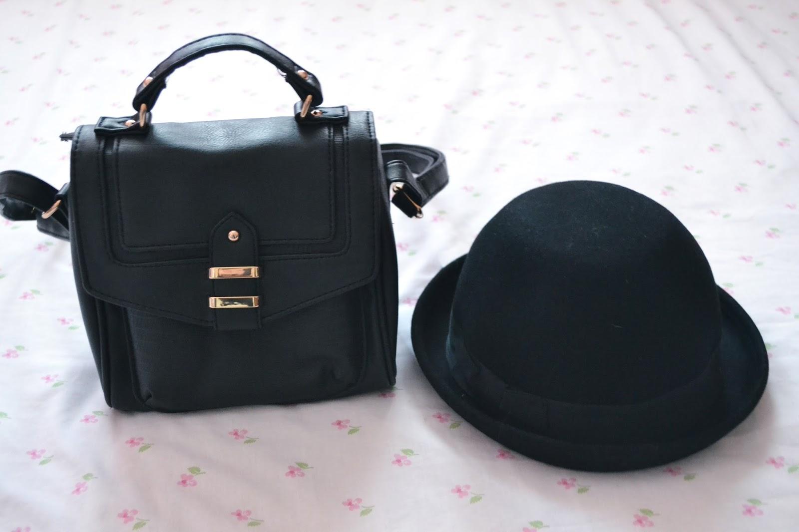 black tab lock across body bag new look bowler hat h&m