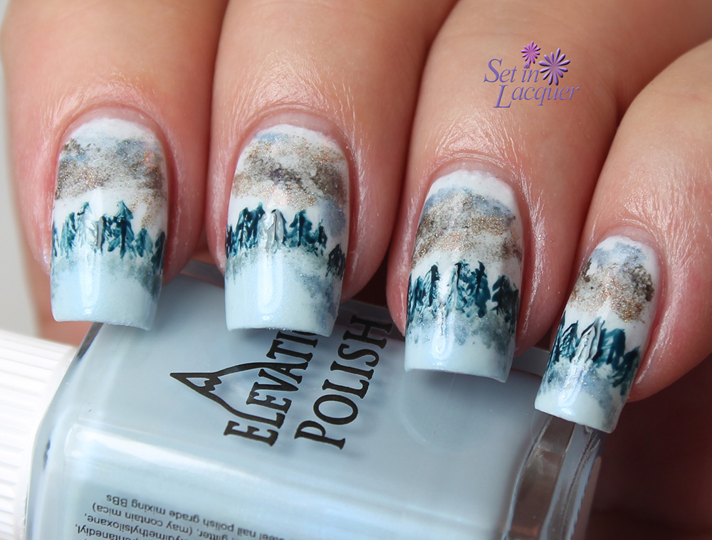 Forest Landscape Nail Art With Elevation Polish Set In Lacquer