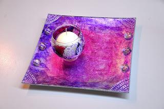 portavelas decorado, bandeja de cristal