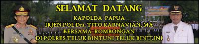 Spanduk Selamat Datang Kapolda Papua di Polres Teluk Bintuni