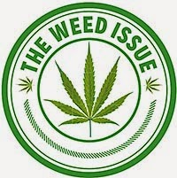 "Circular icon with a cannabis plant in green in the center with the text ""The Weed Issue"" around the top"