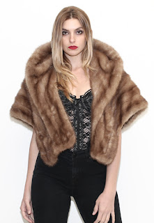 Vintage 1960's honey brown mink fur stole.