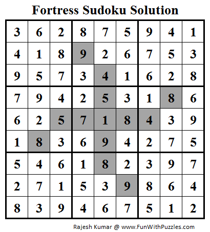 Fortress Sudoku (Daily Sudoku League #96) Solution
