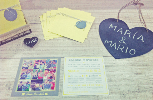 Invitaciones de boda vintage gris y amarillo