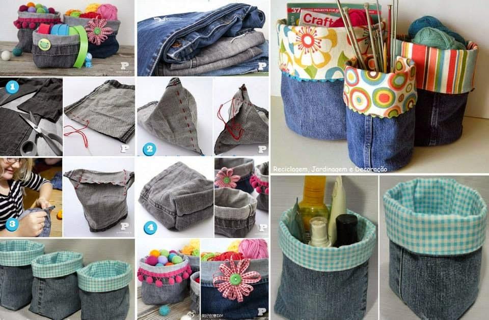 Con la mezclilla de ese pantalón viejo, puedes hacer desde unos cestos para poner tu material escolar hasta reutilizar los bolsillos de los pantalones para