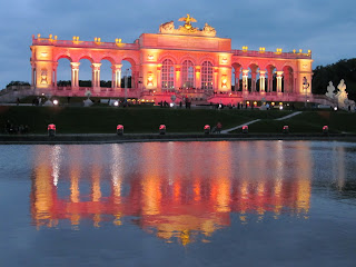 The Gloriette at Schnöbrunn Palace lit up for an evening concert