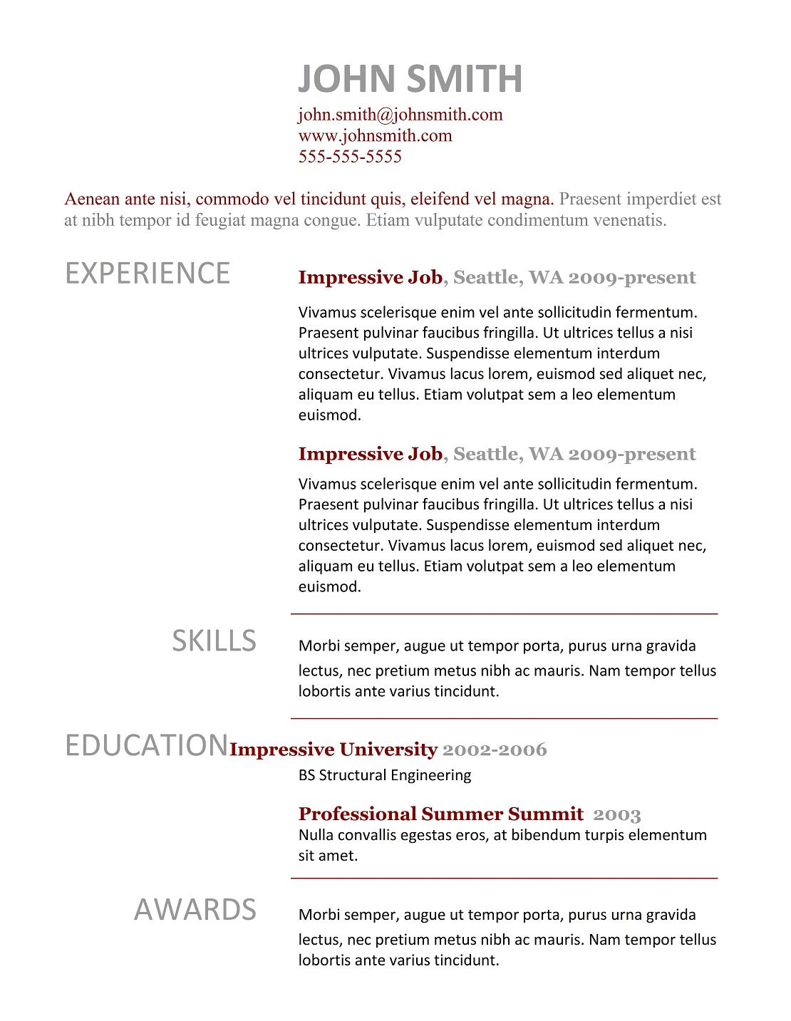 9 best free resume templates download for freshers - Resume Template For A Job