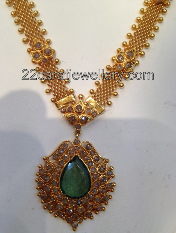 uncut diamond necklace with yellow gold jewellery designs