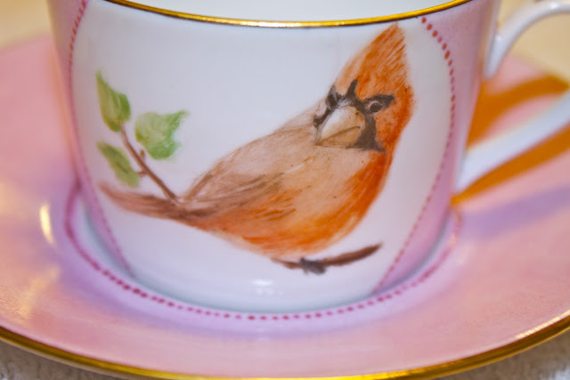 china, porcelain, tea cup, hand painted, birds, cardinal
