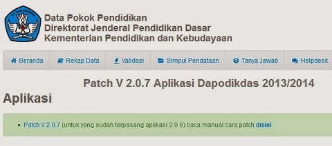 Patch V 2.0.7 Aplikasi Dapodikdas 2013/2014