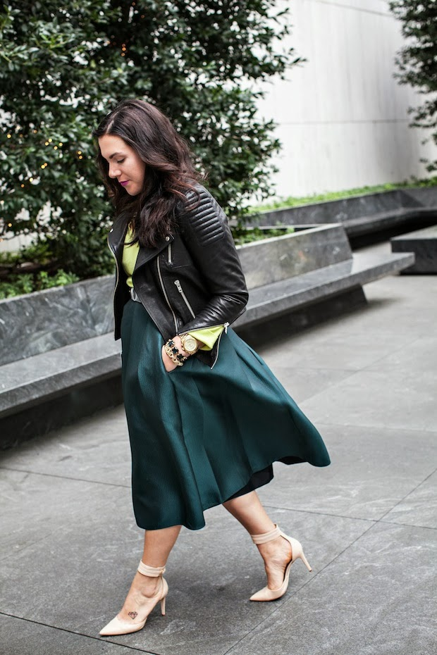Tibi Simona full jacquard skirt, H&M icons leather jacket and a Joe Fresh Cashmere sweater.