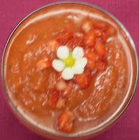 Gaspacho de tomates et de fraises