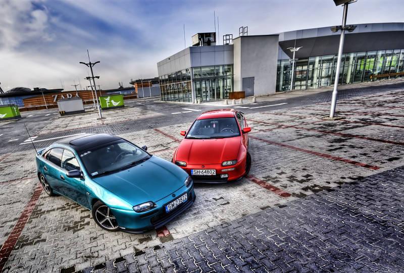 Mazda 323F BA, ciekawy design, piękny samochód, tuning, czerwony, z Polski, zdjęcia