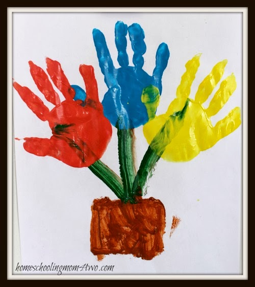Spring Flowers Hand Print Art