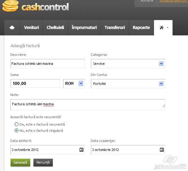 cash control, adaugarea unei facturi
