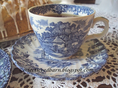 Eclectic Red Barn: Almond Pudding Loaf with blue transferware