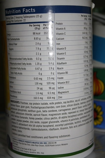 Herbalife meal replacement shakes nutritional information