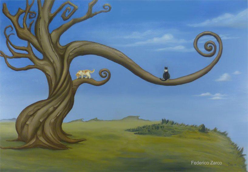 Dipinti surreali due gatti e un albero surrealista for Pintura color albero