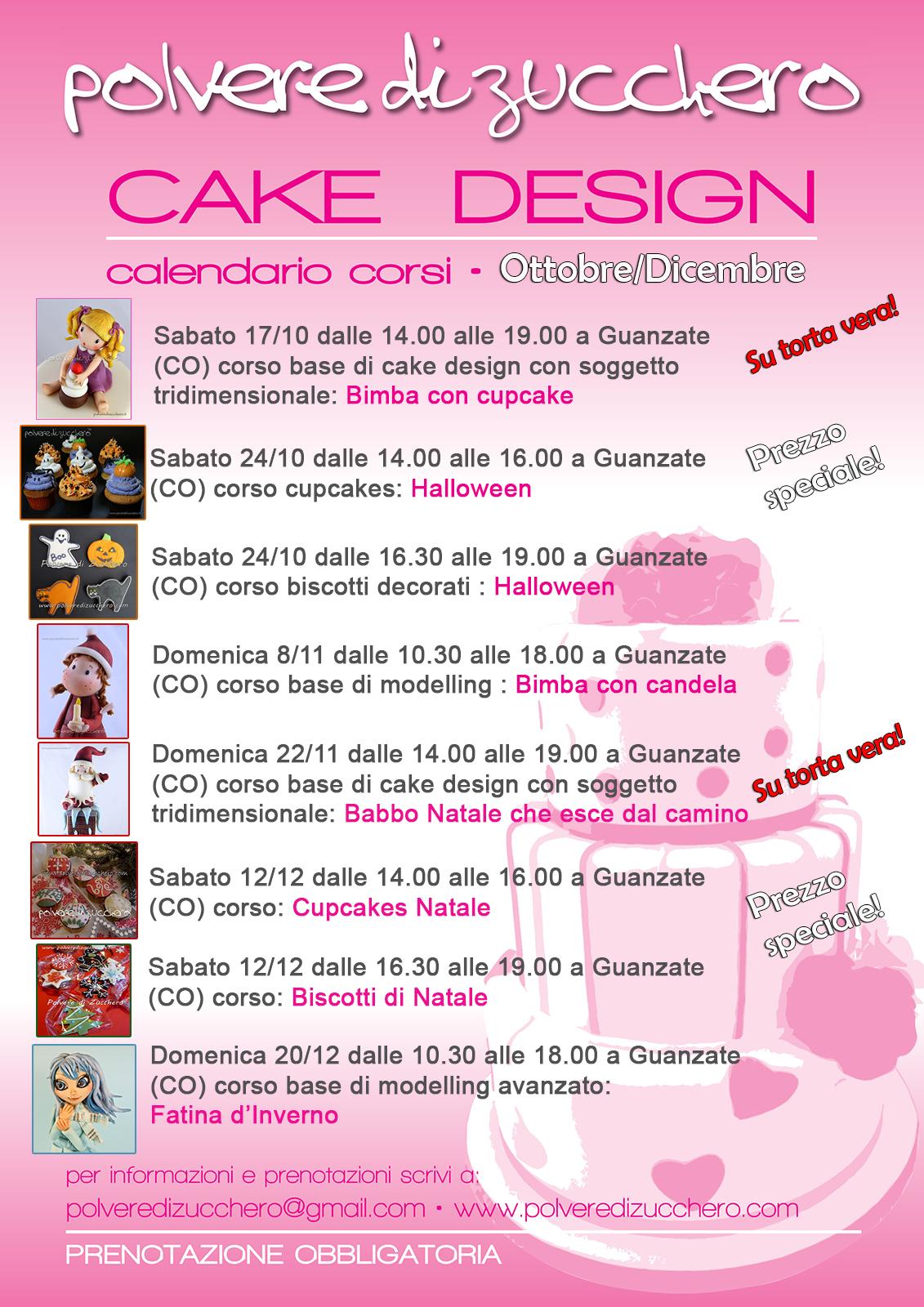 corsi di cake design: il calendario dei nuovi corsi di ottobre, novembre e dicembre 2015