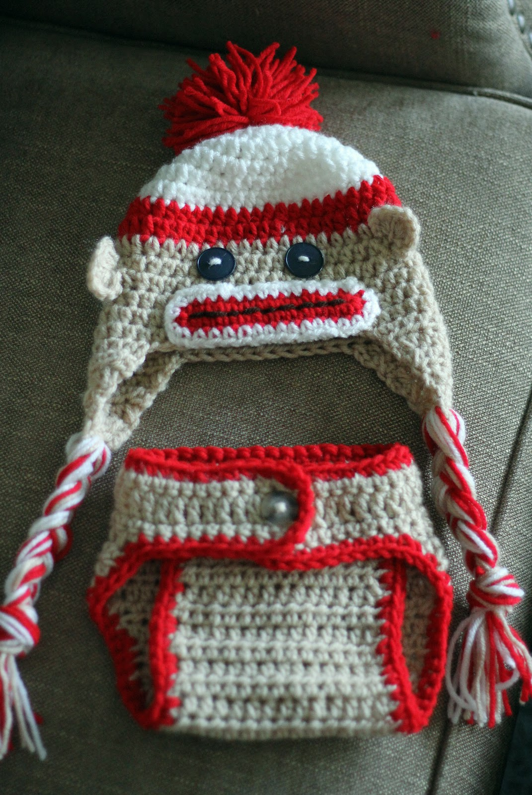 Priscillas sock monkey baby hat and diaper cover sock monkey baby hat and diaper cover dt1010fo