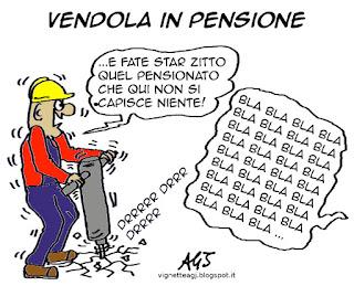 Vendola, baby pensioni, pensionati, satira vignetta