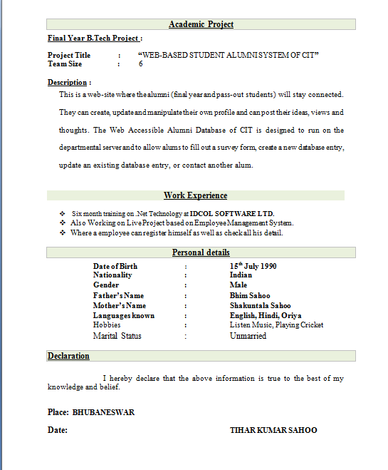 download best resume format for freshers - Resume Freshers Format