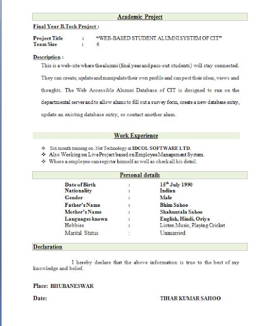 resume format best 2409