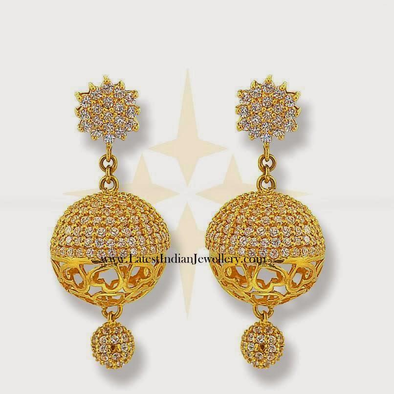 Gold indian jhumki earrings