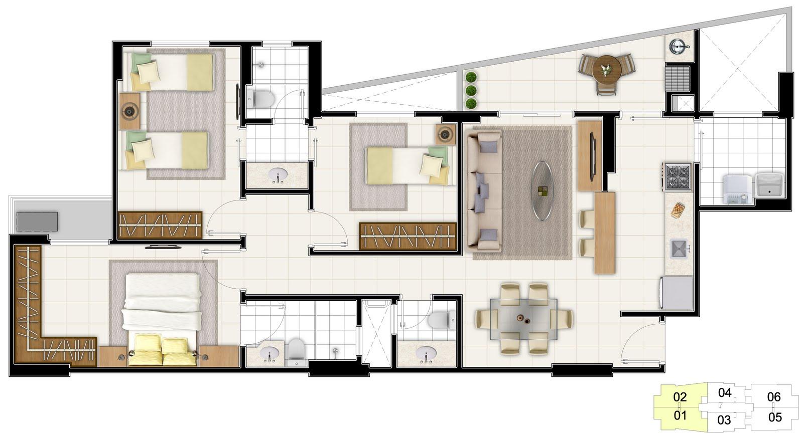 Extremamente plantas de casas tres quartos com suite YS48