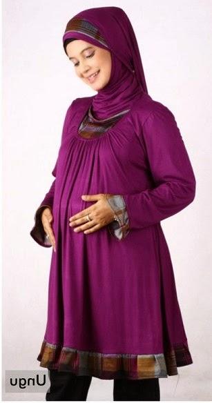 Gambar model baju muslim kerja untuk ibu hamil