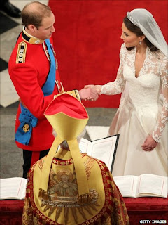 Prince William and Catherine Middleton after saying their Vows