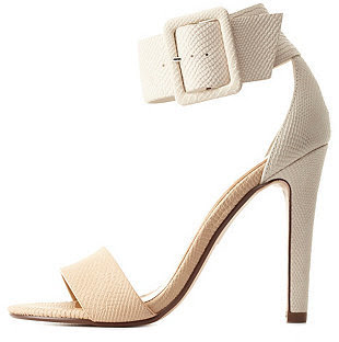 Charlotte Russe nude and white textured barely there sandals