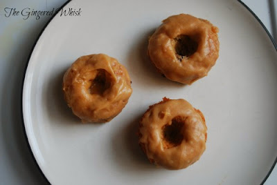 Banana Chocolate Chip Mini Donuts with Peanut Butter Icing