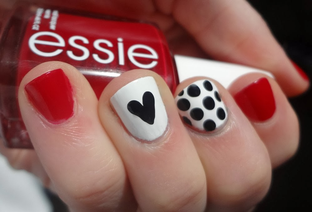 Valentine's Day Nails from aka Bailey, Red, black polka dots