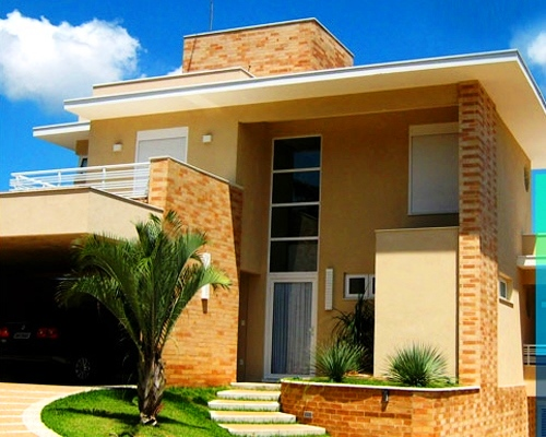 24 fachadas de casas modernas tipos de revestimentos for Modelos de fachadas de casas
