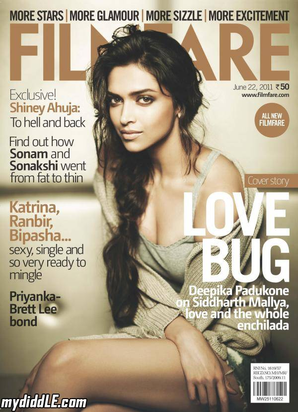Deepika Padukone on the cover of Filmfare June 2011
