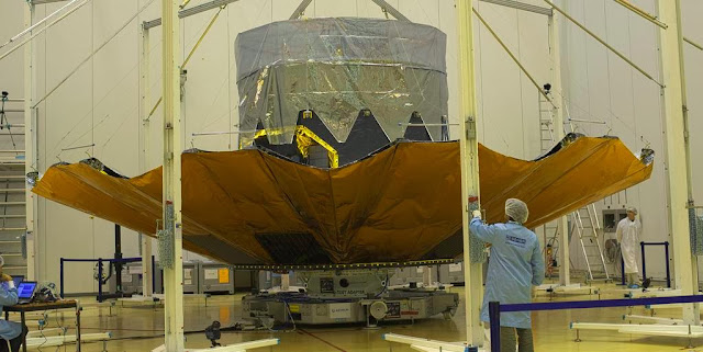 The Gaia Deployable Sunshield Assembly (DSA) during deployment testing in the S1B integration building at Europe's spaceport in Kourou, French Guiana, on 10 October 2013. Credit: ESA–M. Pedoussaut