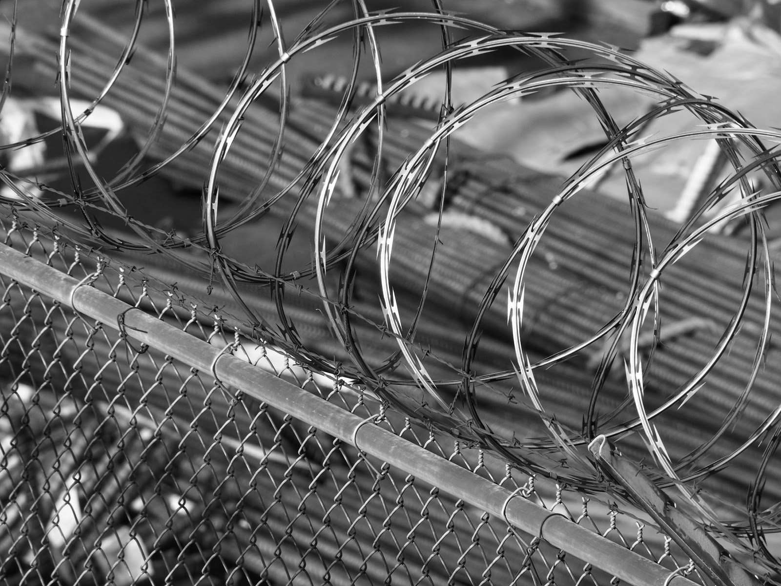 Barbed Wire #barbedwire #construction #hudsonyards #NYC #highline #blackandwhite ©2014 Nancy Lundebjerg