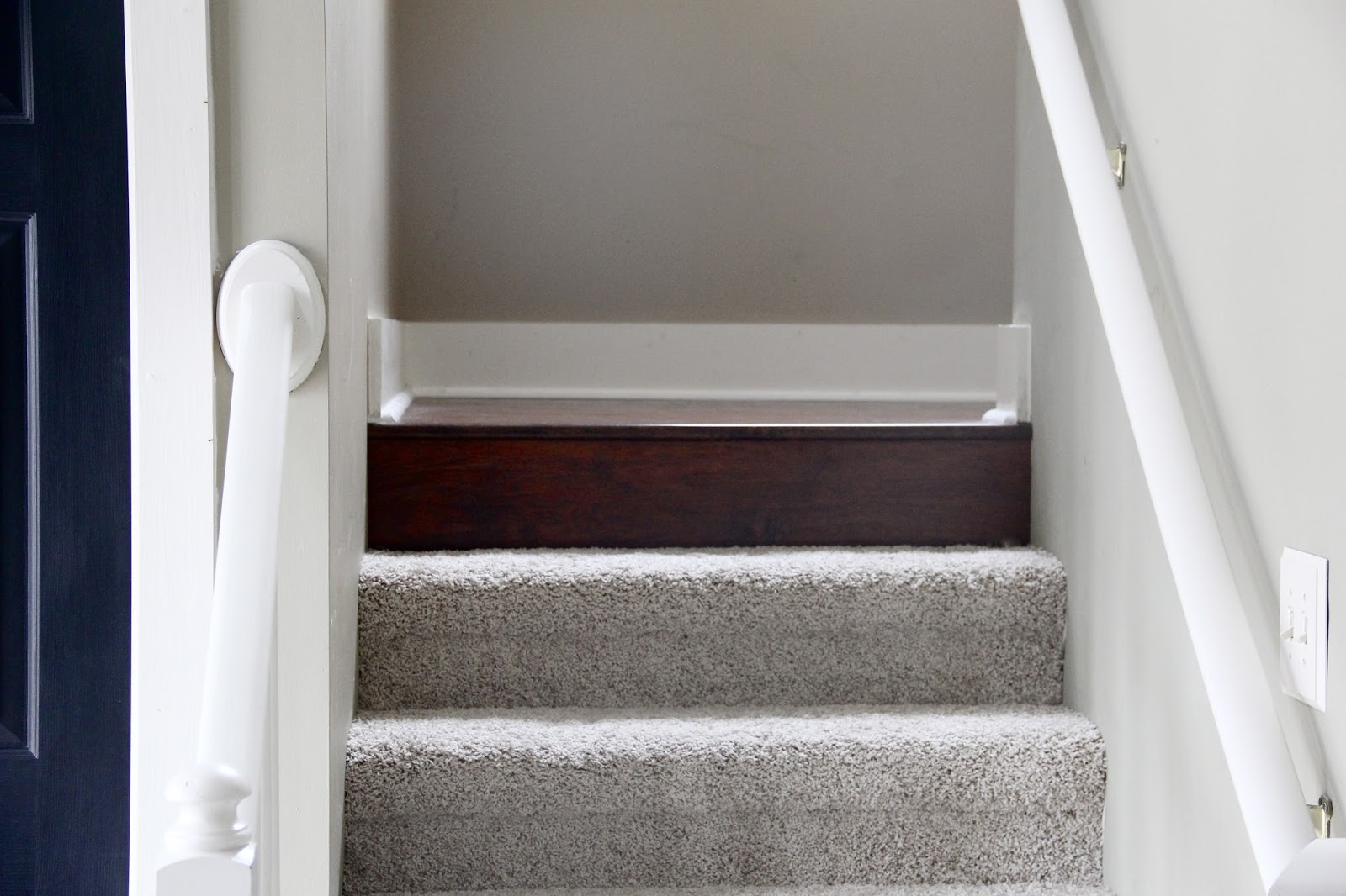 The yellow cape cod how to transition between two for Hardwood floors upstairs