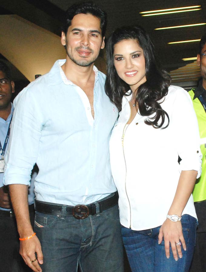 Sunny Leone in white top with dino morea - Dino Maria with Sunny Leone